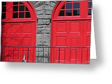 Old Fire Hall Doors Greeting Card