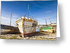 Old Fishing Boats Camaret-sur-mer Brittany France Greeting Card by Colin and Linda McKie