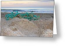 Old Fishing Net On Beach Greeting Card