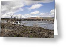 Old Fishing Platform By The Dalles Bridge Greeting Card