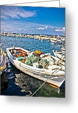 Old Fishing Wooden Boat With Nets Greeting Card
