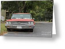 Old Ford Galaxy In The Rain Greeting Card