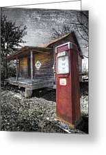 Old Gas Pump Greeting Card by Debra and Dave Vanderlaan