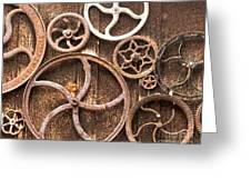 Old Gears In Genoa Nevada Greeting Card