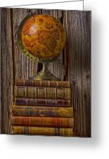 Old Globe On Old Books Greeting Card