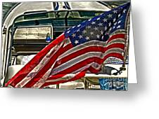 Old Glory And The Bay Greeting Card