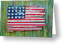 Old Glory In Wood Impression Greeting Card