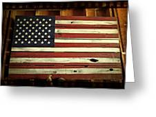 Old Glory In Wood Greeting Card