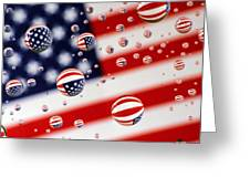 Old Glory Water Drops Greeting Card
