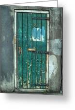 Old Green Door In Quarter Greeting Card