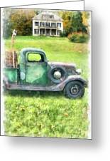 Old Green Pickup Truck Greeting Card
