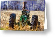 Old Green Tractor On The Farm Greeting Card