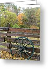 Old Green Wagon Wheel Greeting Card