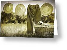 Old Grunge Photo Of Jeans And Straw Hats  Greeting Card
