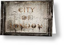Old Grunge Stone Board With City Of London Text Greeting Card