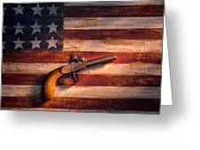 Old Gun On Folk Art Flag Greeting Card