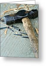 Old Hammer On Wooden Background Greeting Card