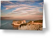 Old Harry Rocks Jurassic Coast Unesco Dorset England At Sunset Greeting Card by Matthew Gibson