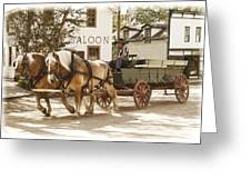 Old Horse Drawn Wagon At Fort Edmonton Park Greeting Card