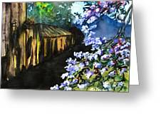 Old House And New Flowers Greeting Card