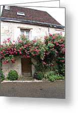 Old House Covered With Roses Greeting Card