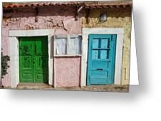 Old House Doors In Lisbon Greeting Card