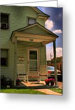 Old Houses - New Jersey - In The Oranges - Green House With Flower Pots And Rocking Chairs - Color Greeting Card