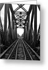 Old Huron River Rxr Bridge Black And White  Greeting Card