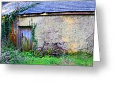 Old Irish Cottage With Bike By The Door Greeting Card