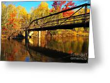 Historic Harvey Bridge Over Manistee River In Wexford County Michigan Greeting Card