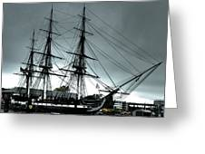 Old Ironsides Blue Tone Greeting Card by Linda Ryan