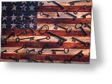 Old Keys On American Flag Greeting Card