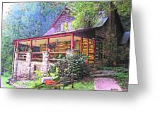 Old Log Cabin Home Greeting Card