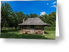 Old Log Cabin Three Greeting Card