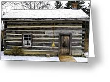 Old Log Home With A Broom Greeting Card