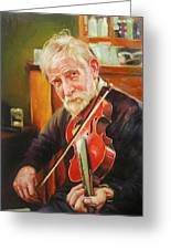 Old Man And Fiddle Greeting Card