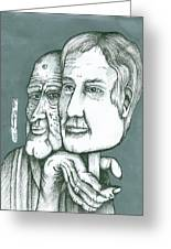 Old Man Behind A Young Mans Face Greeting Card by Richie Montgomery