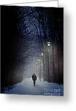 Old Man Walking On Snowy Winter Path At Night Greeting Card by Sandra Cunningham
