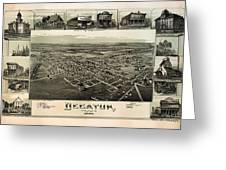 Old Map Of Decatur Texas 1890 Greeting Card