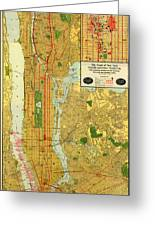 Old Map Of New York Central Railroad Manhattan Map 1918 Greeting Card