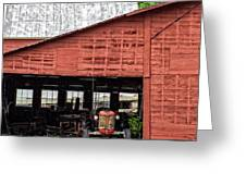 Old Massey Ferguson Red Tractor In Barn Greeting Card