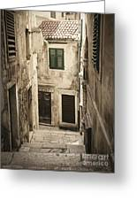 Old Medieval Alley Greeting Card
