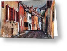 Old Medieval Street In Sighisoara Citadel Romania Greeting Card