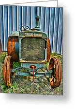 Old Metal Wheeled Tractor Hdr Greeting Card