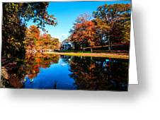 Old Mill House Pond In Autumn Fine Art Photograph Print With Vibrant Fall Colors Greeting Card