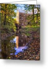 Old Mill Reflected In A Creek Greeting Card
