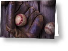 Old Mitt And Worn Baseballs Greeting Card
