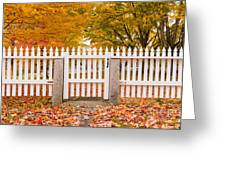 Old New England White Picket Fence Greeting Card