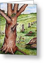 Old Oak Tree With Birds' Nest Greeting Card