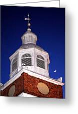 Old Otterbein Umc Moon And Bell Tower Greeting Card